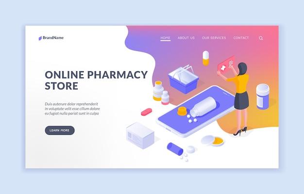 Online apotheek winkel isometrisch ontwerp van webpagina