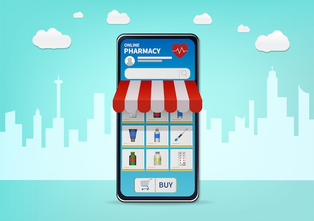 Online apotheek winkelen op website of mobiele applicatie.