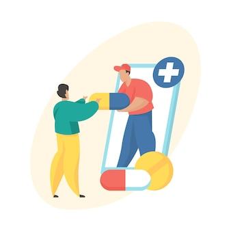 Online apotheekconcept. levering van medicijnen. mannelijke stripfiguurkoerier die medicijnen geeft aan koper. online drogisterijservice. platte vectorillustratie