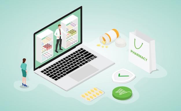 Online apotheekdrogisterij met moderne isometrische vlakke stijl