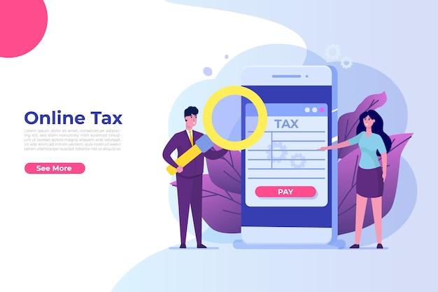 Online app-concept voor belastingbetaling