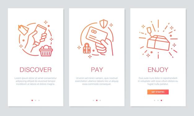 Online app-schermen voor onboarding winkelen.