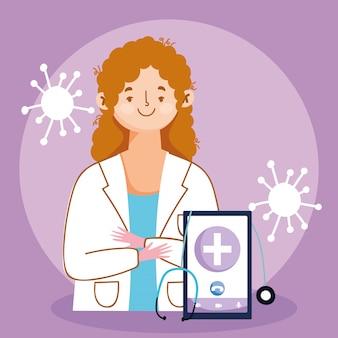Online arts, arts, smartphone, diagnostische stethoscoop, analyse, bel support covid 19