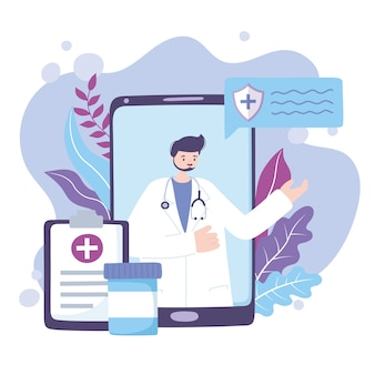 Online arts, arts smartphone medisch rapport en medicatieadvies of consultatiedienst