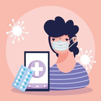 Online arts, geduldige smartphone die medicijnpillen covid verpakken 19