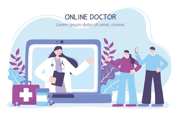 Online arts, koppel met smartphone en vrouwelijke arts in laptop, medisch advies of consultatiedienst