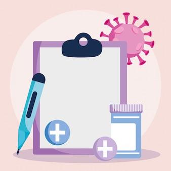 Online arts, medisch rapportthermometer en medicijnfles covid 19