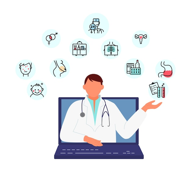 Online arts overleg concept medisch adviseur biedt hulp van laptopscherm