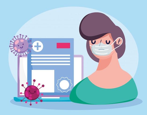 Online arts, patiënt met maskerlaptop medisch rapport covid 19