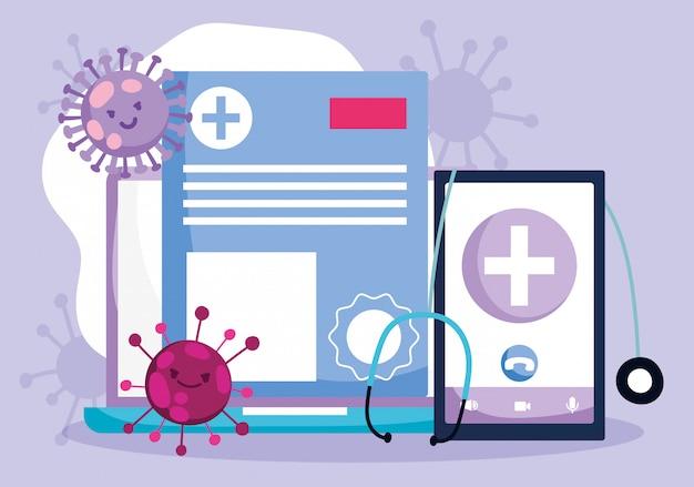 Online arts, smartphone laptop stethoscoop medisch rapport covid 19