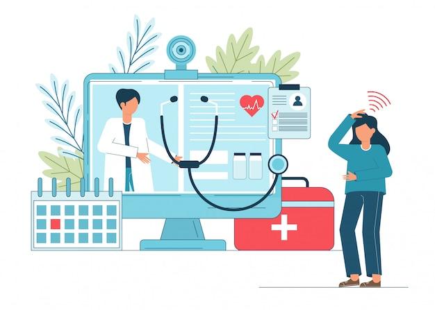 Online arts, telegeneeskunde, medische dienst online voor patiënten.
