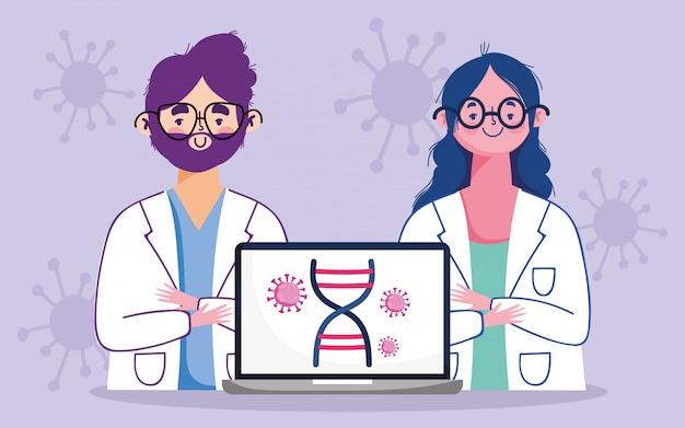 Online arts, vrouwelijke en mannelijke arts medische laptop covid 19