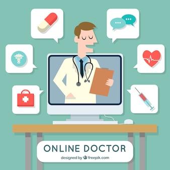 Online artsenconcept met pictogrammen