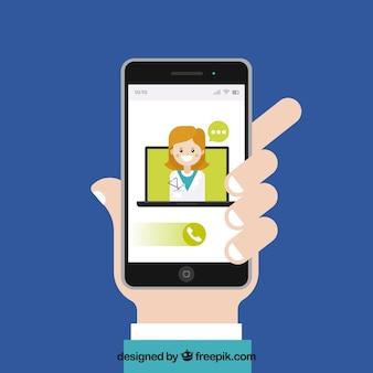 Online artsenconcept met smartphone van de handholding