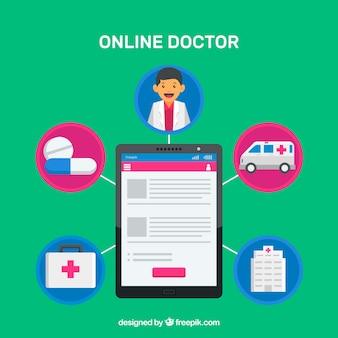 Online artsenconcept met tablet