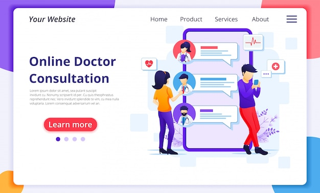 Online artsoverlegconcept, online medische hulp bij gezondheidszorg. website bestemmingspagina ontwerpsjabloon
