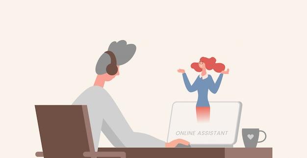 Online assistent illustratie. jonge man zit aan de tafel achter de computer met een oortje op het hoofd.