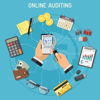 Online auditing, fiscaal proces, boekhoudconcept