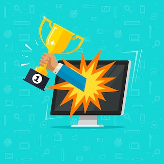 Online award doel behalen op computerscherm of winnaar internet gouden beker
