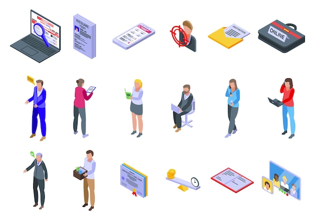 Online baan zoeken pictogrammen instellen. isometrische reeks online pictogrammen voor het zoeken naar werk voor web