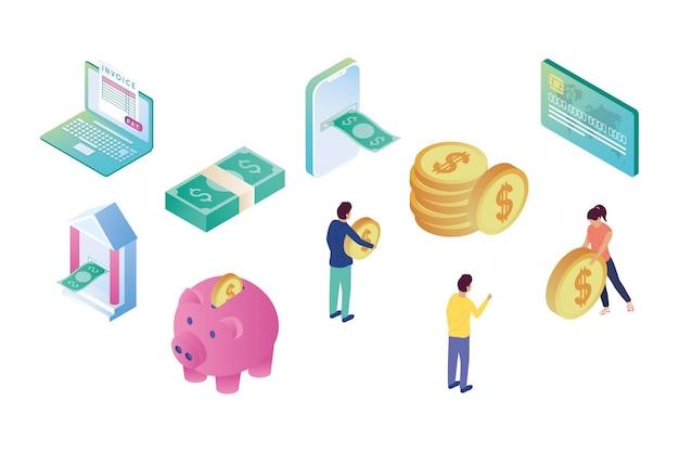 Online bank tien set pictogrammen