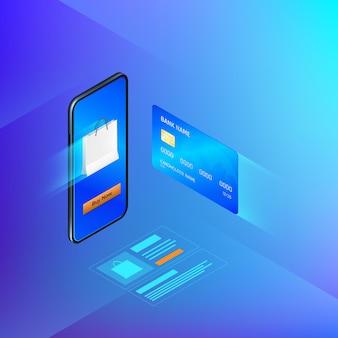 Online bankdiensten in mobiele app. overboeking of internet shopping concept.