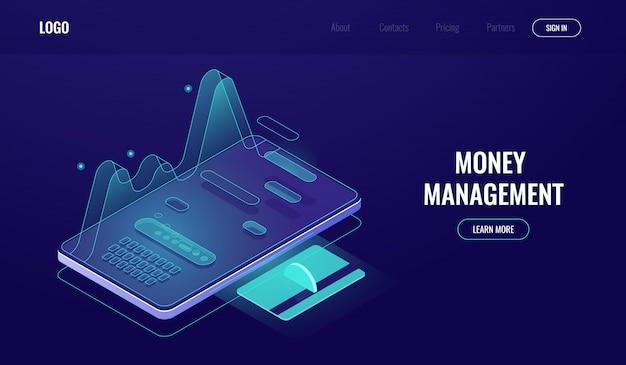 Online bankieren app, de statistieken van uitgaven en inkomens, geldbeheer, betalings- en loonrapport