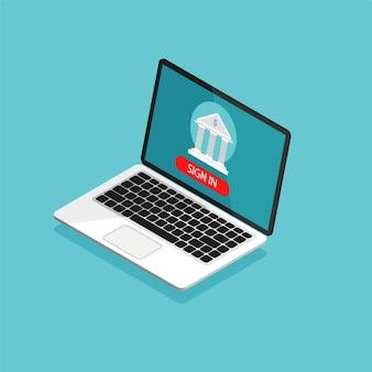 Online bankieren concept. geldtransactie, zakelijke en mobiele betalingen. open laptop met bankpictogram op een scherm. illustratie in isometrische trendy stijl.