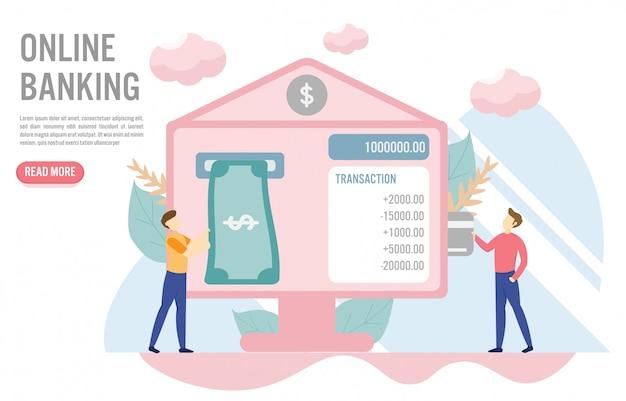 Online bankieren concept met karakter