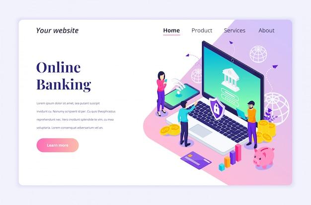 Online bankieren concept met karakters, online financiële investering isometrische bestemmingspagina sjabloon