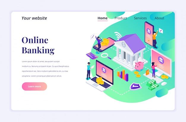 Online bankieren concept met karakters. online financiële investering. moderne platte isometrisch voor bestemmingspagina-sjabloon