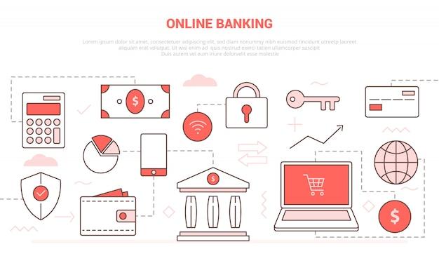 Online bankieren concept met laptop en online winkelen veiligheidsdatabase voor website homepage
