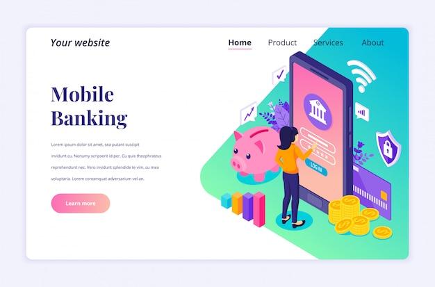 Online bankieren concept met tekens, elektronische mobiele betaling isometrische bestemmingspagina sjabloon