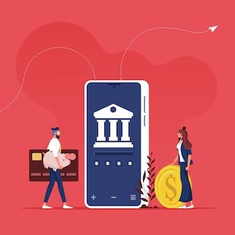 Online bankieren en internetbankieren concept - mensen die een app gebruiken voor het overmaken van geld met een smartphone