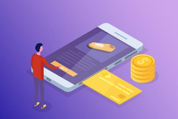 Online bankieren en winkelen, mobiele betalingen, geld overmaken isometrisch concept. illustratie.