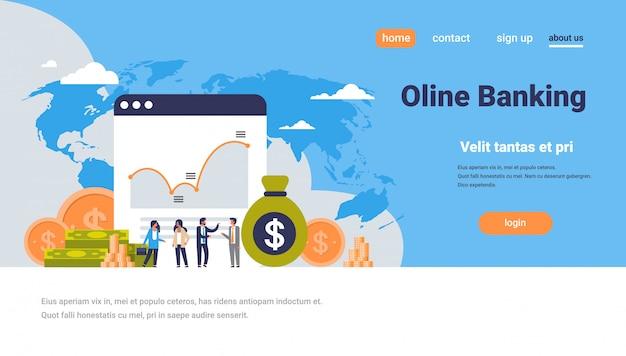 Online bankieren geld grafiek groei rijkdom concept dollar munt pictogram mensen financieren analyse over de landingspagina van de wereldkaart