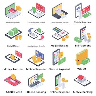 Online bankieren iconen pack