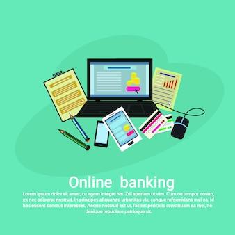 Online bankieren web sjabloon banner met kopie ruimte