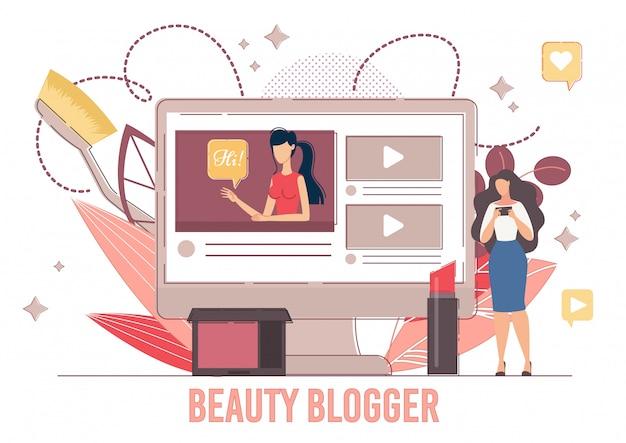 Online beauty blogger in vlakke stijl