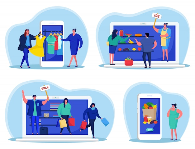 Online bedrijf in apparaatset, betaling, verkoop in internetillustratie. web elektronische technologie, karakter in winkelverkoopdienst. mensen gebruiken het concept van mobiele telefoons en laptops.