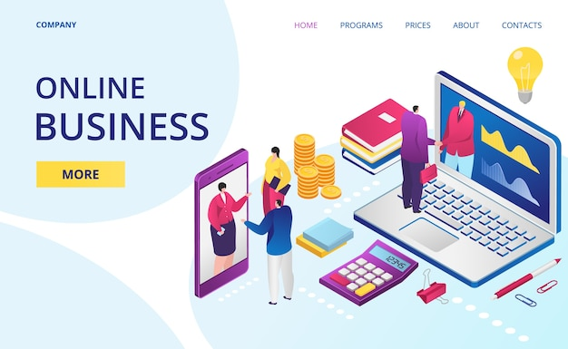 Online bedrijf op internet, webpagina van digitaal kantoor, bestemmingspagina