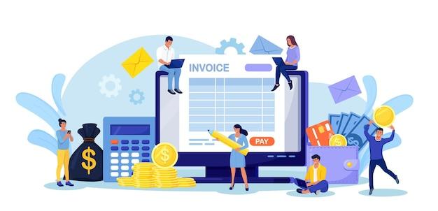 Online belasting betalen. mensen die een belastingformulier invullen. kleine tekens met computer die betalings- of financieringsrapport berekent. elektronische betaling van facturen, digitale ontvangst, online bankieren