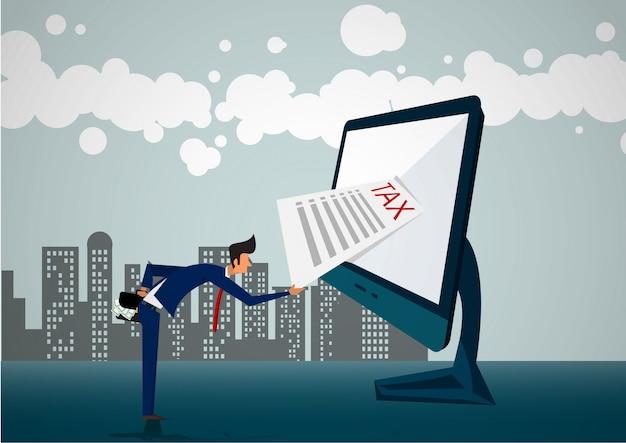 Online belasting factuurbetaling met papieren document laptop en mensen