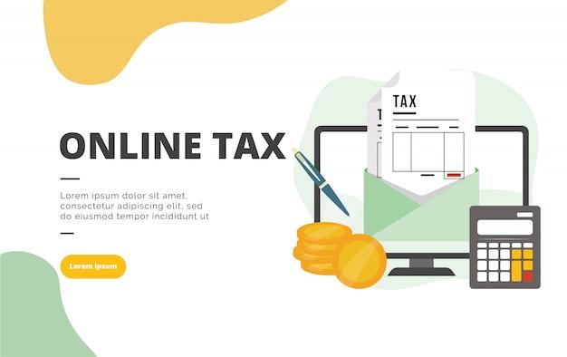 Online belasting vlakke ontwerp banner illustratie