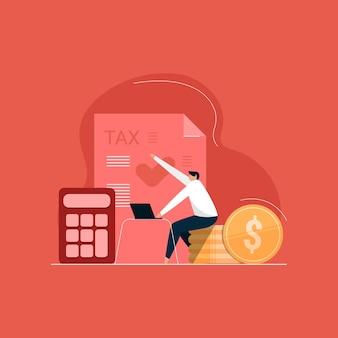Online belastingberekening en betalingsoverzicht, belastingbetaler die belasting en winst telt, boekhoudkundige en financiële analyseillustratie