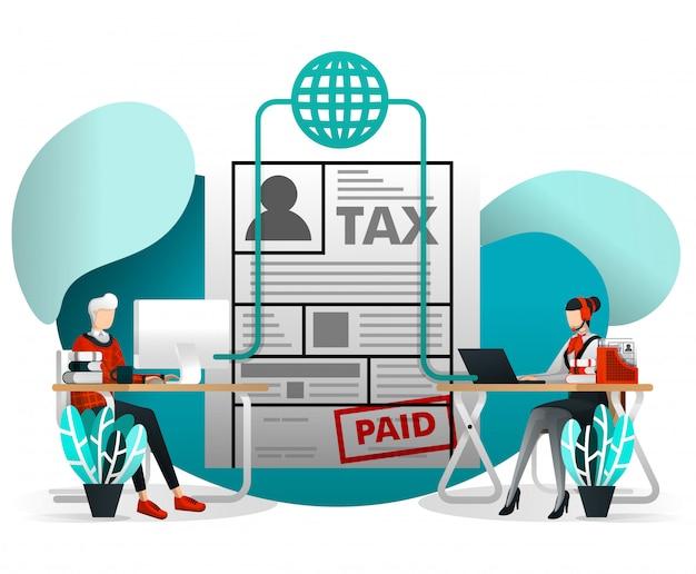 Online belastingformulier indienen met flat cartoon