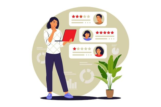 Online beoordelingen-concept. sterrenclassificatie. feedback-concept. vector illustratie. vlak.