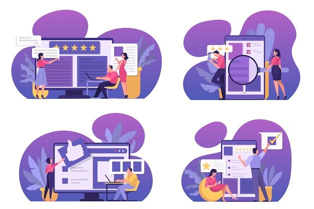 Online beoordelingsconceptenset. mensen laten feedback achter, goed