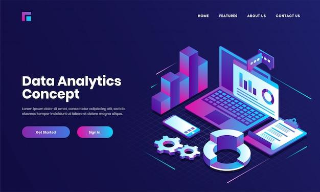 Online berichten- of financiële app in laptop met smartphone en checklistpapier voor conceptgebaseerd isometrisch ontwerp van data analytics.