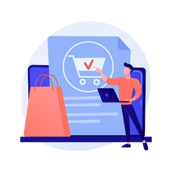 Online bestellen, aankopen doen, goederen kopen op internetwinkelwebsite. vrouwelijke klant met tablet product toe te voegen aan kar stripfiguur.